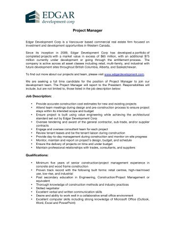 Construction Project Manager Job Description Telegraph  OukasInfo