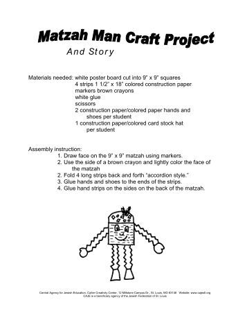 Matzah Man Puppet Craft & Story - Central Agency for Jewish ...