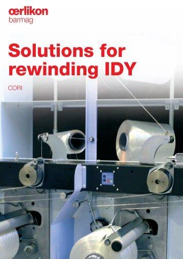 Solutions for rewinding IDY - Oerlikon Barmag - Oerlikon Textile