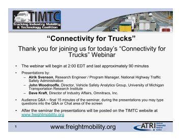 """""""Connectivity for Trucks"""" - Trucking Industry Mobility and Technology ..."""