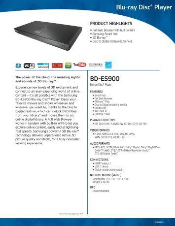 BD-E5900 Blu-ray Disc® Player - Brandsmart USA