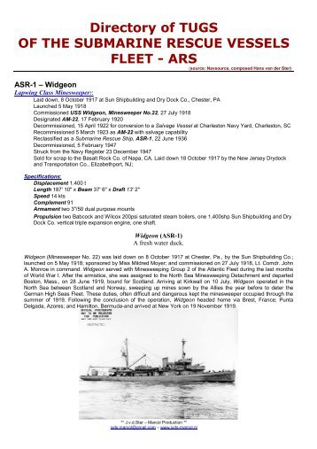Directory of TUGS OF THE SUBMARINE RESCUE VESSELS FLEET