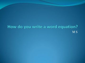 how to write word equations