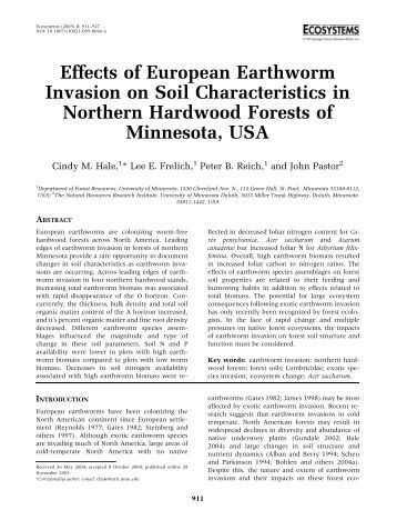 effects of earthworms on soil The impact of earthworms activity on soil structure was underlined long ago, and  these organisms are now recognized as major biological drivers in temperate.