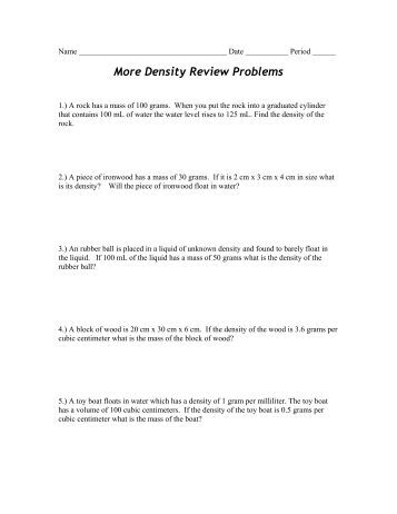 Density review worksheet middle school