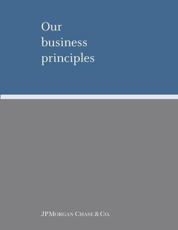 Our business principles - JPMorgan Chase