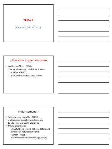 TEMA 8 I. Concepto y tipos principales Notas ... - Monovardigital