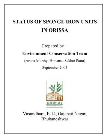 Download Status Of Sponge Iron Units In Orissa - Vasundhara