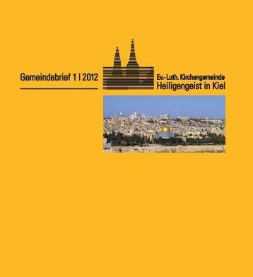 Gemeindebrief 1 - Ev.- Luth. Kirchengemeinde Heiligengeist in Kiel