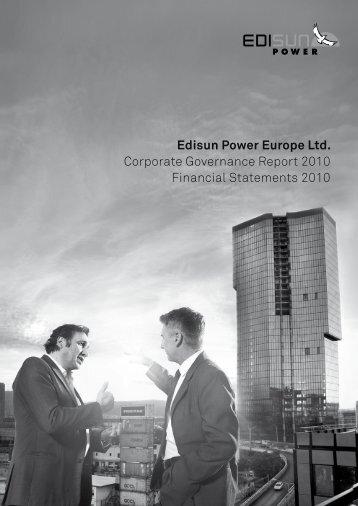Edisun Power Europe Ltd. Corporate Governance Report 2010 ...