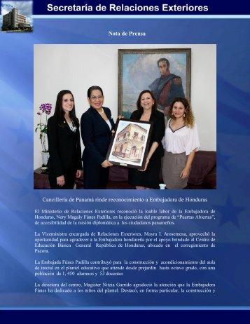 Cancillería de Panamá rinde reconocimiento a Embajadora de ...