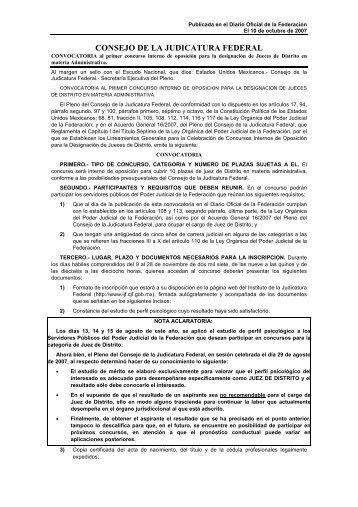 CONSEJO DE LA JUDICATURA FEDERAL - Instituto de la ...