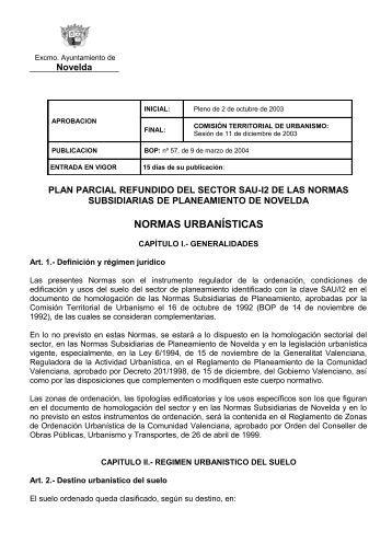 plan parcial refundio del sector sau-i2 de las normas - Ayuntamiento ...