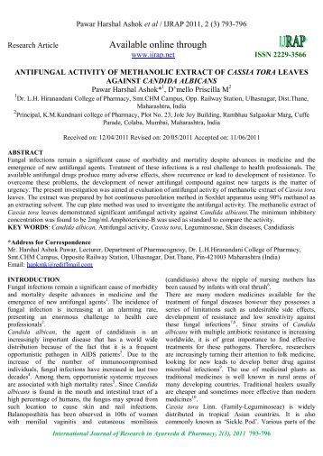 Available online through - International Journal of Research in ...