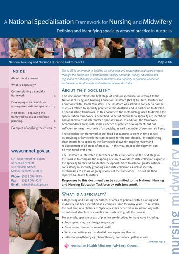 A National Specialisation Framework For Nursing And Midwifery