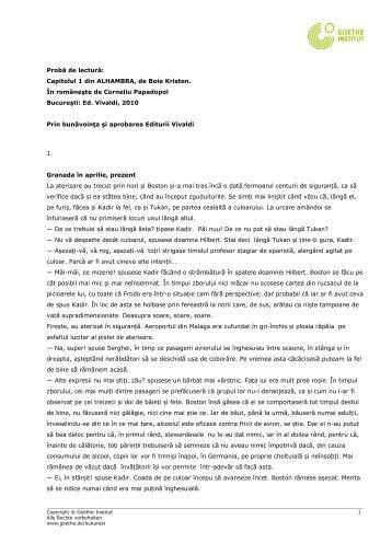 Probă de lectură: Capitolul 1 din ALHAMBRA, de ... - Goethe-Institut