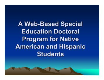 A Web-Based Special Education Doctoral Program for Native ...