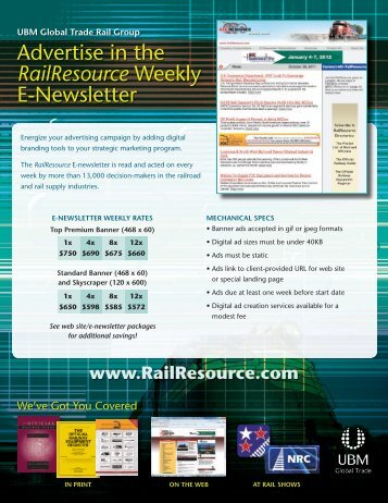 Advertise in the RailResource Weekly E-Newsletter