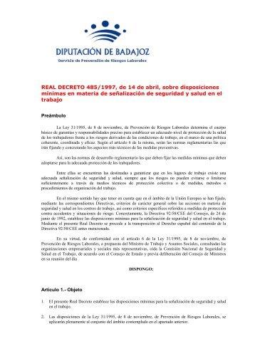 REAL DECRETO 485/1997, de 14 de abril, sobre disposiciones ...