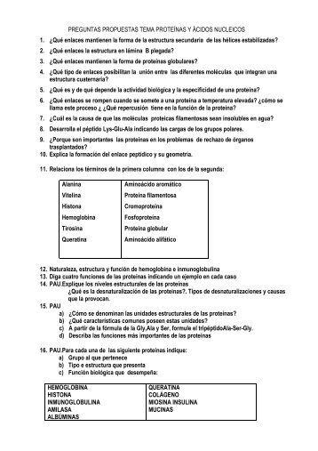 PREGUNTAS PROTEINAS Y A.NUCLEICOS - IES La Nucia