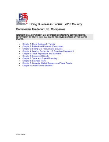 Doing Business in Tunisia: 2010 Country Commercial ... - Export.gov