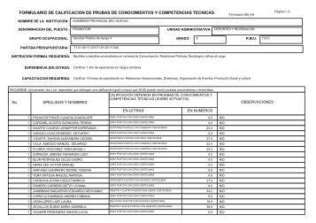 formulario de calificacion de prubas de conocimientos y ...