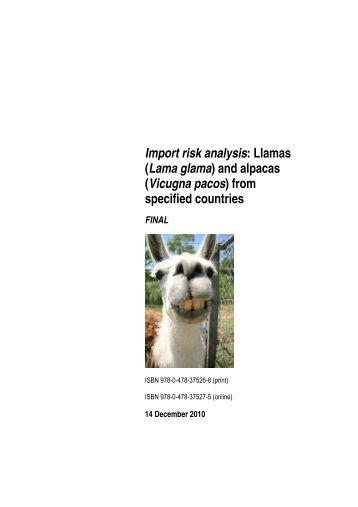 Import risk analysis: Llamas (Lama glama) and alpacas (Vicugna ...