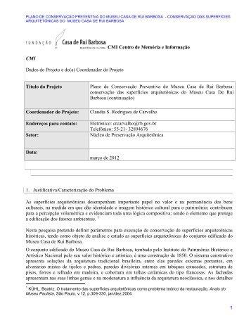 Plano de conservação preventiva do Museu Casa de Rui Barbosa