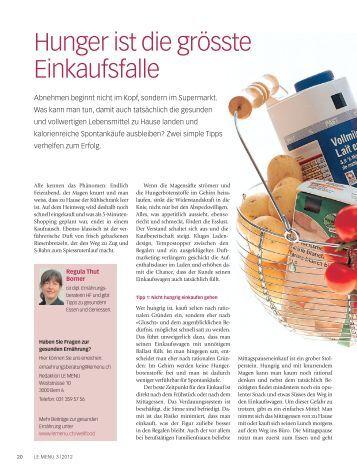 Hunger ist die grösste Einkaufsfalle (PDF, 1.6 MB - le menu