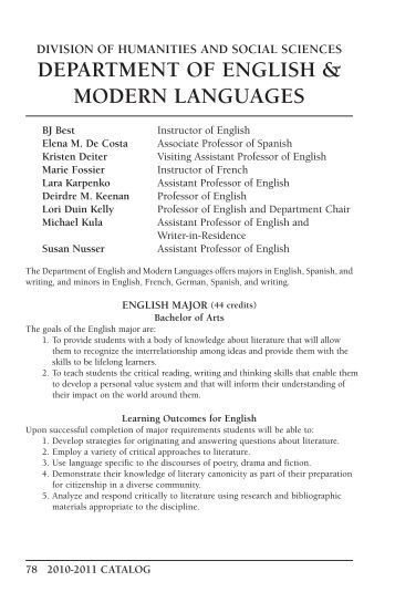 languages department english Department chair  the division of literature and languages welcomes writers,  thinkers, and dreamers of all stripes  major in english or creative writing, and  make space for infinite possibilities: explore global literatures in english, see the .