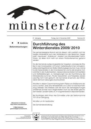 Durchführung des Winterdienstes 2009/ 2010 - Münstertal