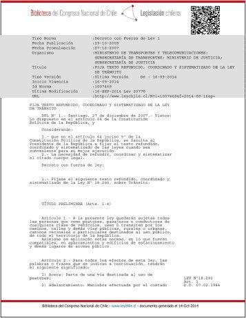 Ley de Transito DFL-1_29-OCT-2009