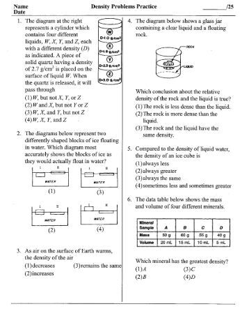 Density worksheet with answers pdf