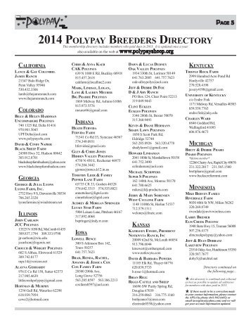 American Polypay Breeders Directory