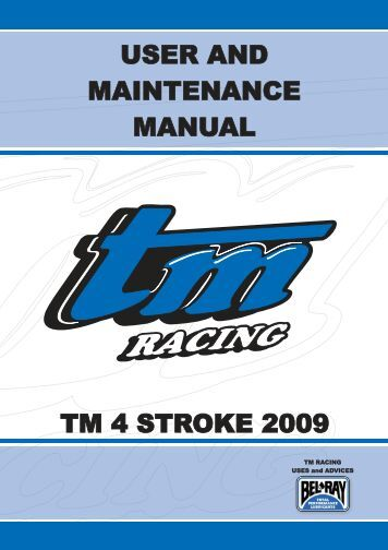user and maintenance manual user and maintenance ... - TM Racing