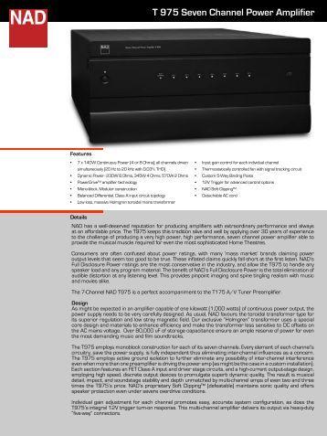 T 975 Seven Channel Power Amplifier - The Listening Post