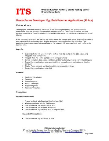 Oracle Forms Developer 10g: Build Internet Applications (40 hrs)