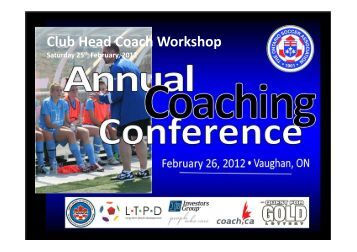 LTPD – Key Messages - Ontario Soccer Association