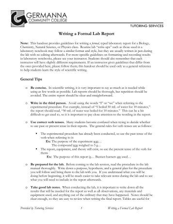 Writing a formal lab report