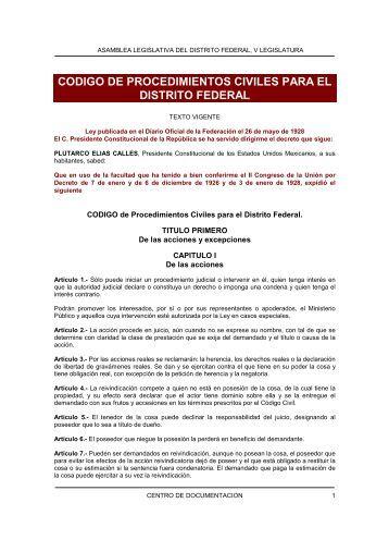 codigo de procedimientos civiles para el distrito federal - Metro
