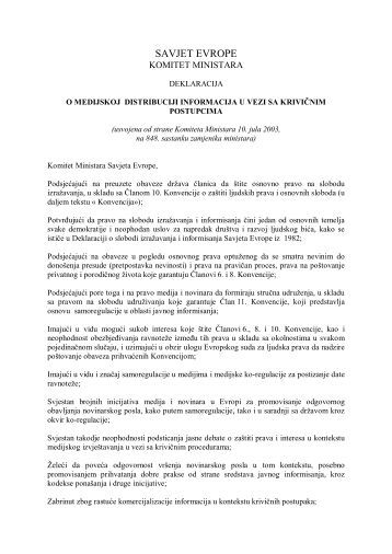 Deklaracija o medijskoj distribuciji informacija u vezi sa krivičnim ...