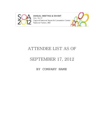 ATTENDEE LIST AS OF SEPTEMBER 17, 2012 - Society of Actuaries