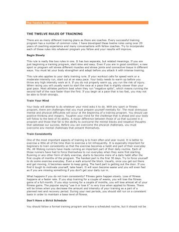 The Twelve Rules of Training - NACoA
