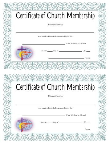 Free Church Certificates  Free Church Forms Find Forms