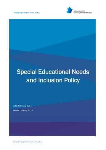 Special Educational Needs & Inclusion Policy - Black Country ...