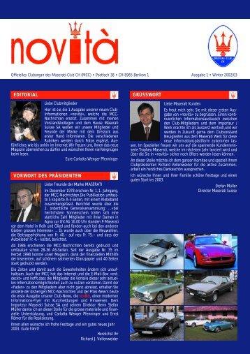 Novità 1 - Maserati Club Schweiz