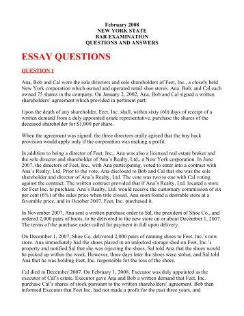 new york bar exam essay question Selected state bar examination subjects table of contents multiple choice questions prepared by the new york of the essay portion of the bar examination.
