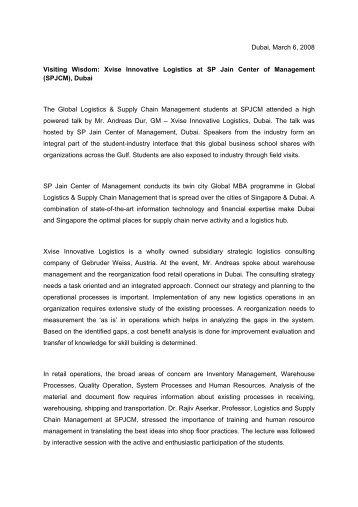 SPJCM - Logistikberatung x|vise
