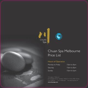 Chuan Spa Price List