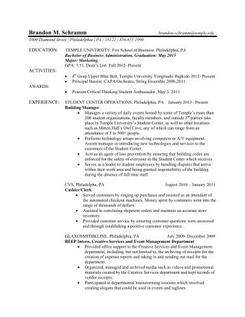 Temple Resume Format Resume Format Bachelor Business Administration Resume  Sample Sample Customer Sample Customer Service Resume